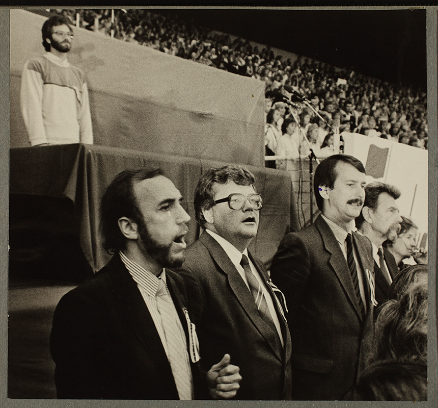 Popular Front leaders Rein Veidemann and Edgar Savisaar, and council member Siim Kallas at the Estonian Song concert, 1988.