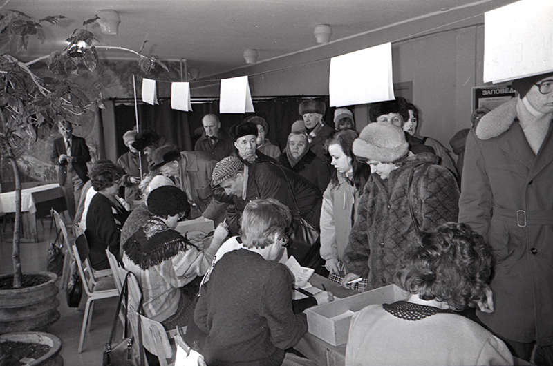 Referendum on national independence and sovereignty of the Republic of Estonia, polling station in Õismäe, 3 March 1991.