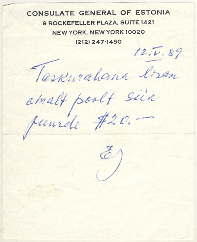 Page from a notepad with a message from the acting ambassador Ernst Jaakson