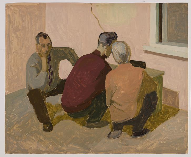 Kaja Kärner's painting Listening to Voice of America, 1959.