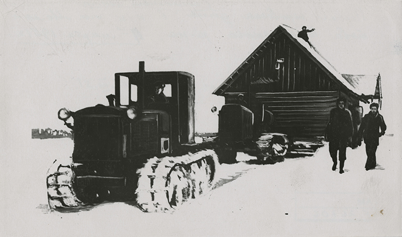 Relocation of a house to the collective farm centre at the Molotov Kolkhoz in Valga County, 1951.
