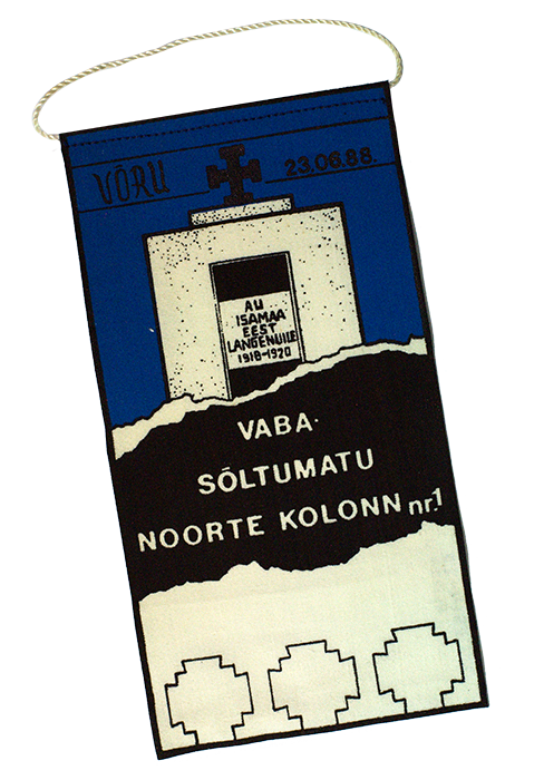 Vaba Sõltumatu Noortekolonn (Free Independent Youth Column) No. 1 pennant, 1988.